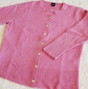 Cute Pink Wool Cardigan Sweater from Gap Sz L